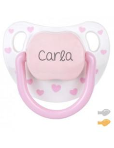 Chupete Baby Chic Personalizado Blanco/Rosa de Mi Pipo