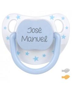 Chupete Baby Chic Personalizado Blanco/Azul de Mi Pipo