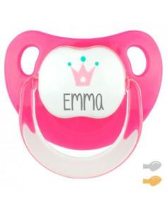 Chupete Baby Corona Personalizado Rosa Fucsia de Mi Pipo