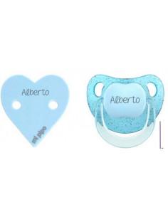 Pack Dúo Glitter Corazón personalizado Azul de Mi Pipo