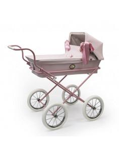 Cochecito para muñecas Mini Sweet Rosa chasis rosa de Bebelux