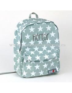 Mochila junior Estrellas Gris personalizada de Mi Pipo
