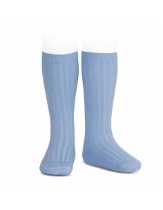 Calcetín alto canalé color azulado