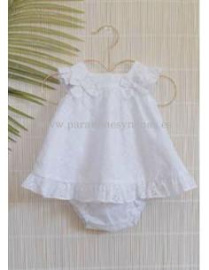 Vestido con braguita de bebe para niña Hortensia