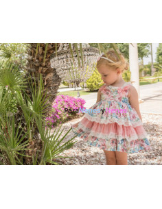 Vestido infantil para niña Hortensias