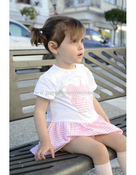 Vestido para niña de vichy Elefante rosa