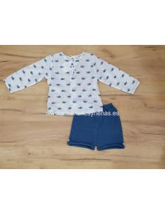 Pantalón corto de punto para bebé Ballenas
