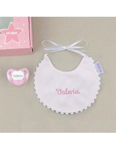 Cajita Baby babero rosa personalizada de Mi Pipo