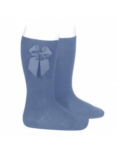 Calcetín niña alto con lazo lateral gros grain azul francia de Cóndor