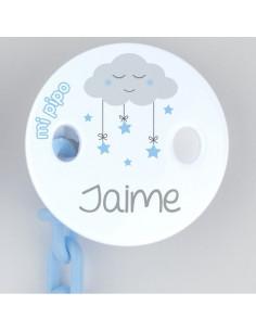 Broche-Pinza Deco Nube Celeste Personalizado de Mi Pipo