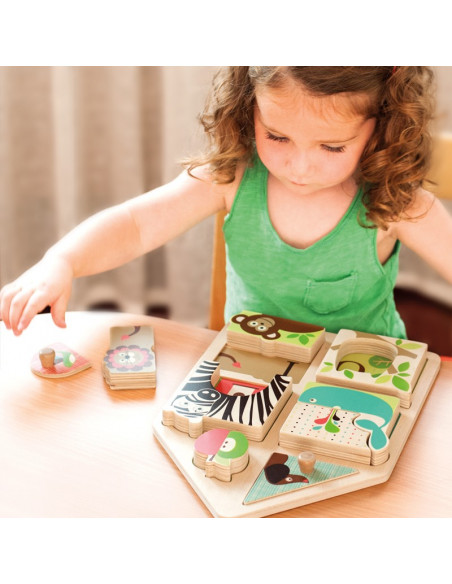 Juguete puzzle de madera juega y empareja de Skip Hop