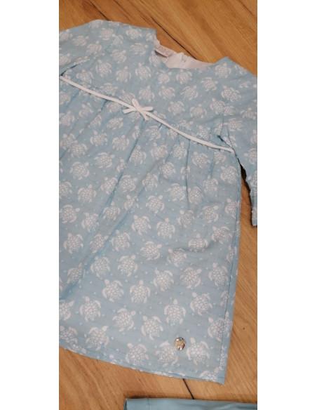 Vestido para bebé niña Tortugas de Paz Rodriguez