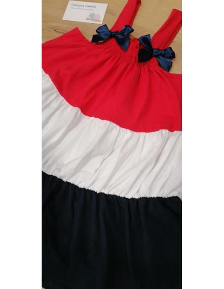 Vestido para niña de tirantas Tricolor Azul