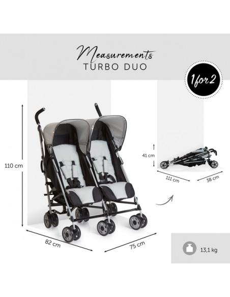 Silla de paseo gemelar Turbo Duo Stone de Hauck