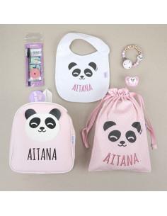 Pack Vamos al Cole personalizado Panda Rosa de Mi Pipo