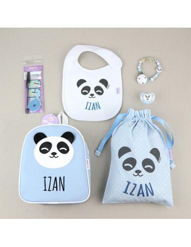 Pack Vamos al Cole personalizado Panda Azul de Mi Pipo