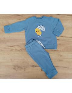 Chándal para bebé Pollito lluvia azul