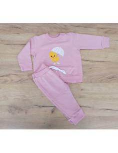 Chándal para bebé niña Pollito lluvia rosa